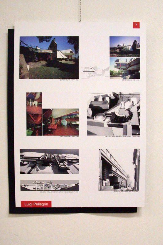 Dettaglio dei pannelli con i principali progetti di Luigi Pellegrin